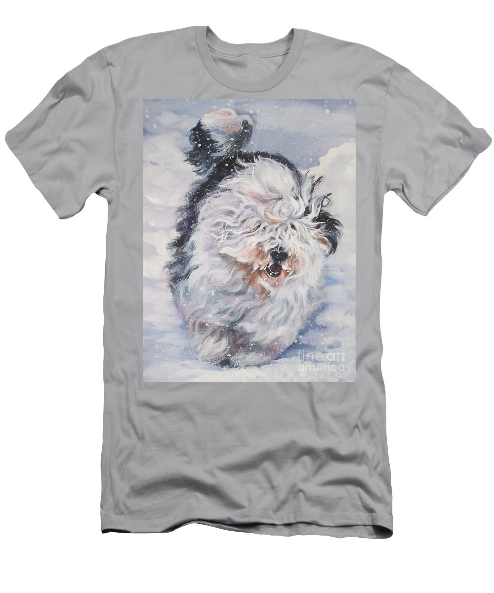 Dog Men's T-Shirt (Athletic Fit) featuring the painting Old English Sheepdog by Lee Ann Shepard