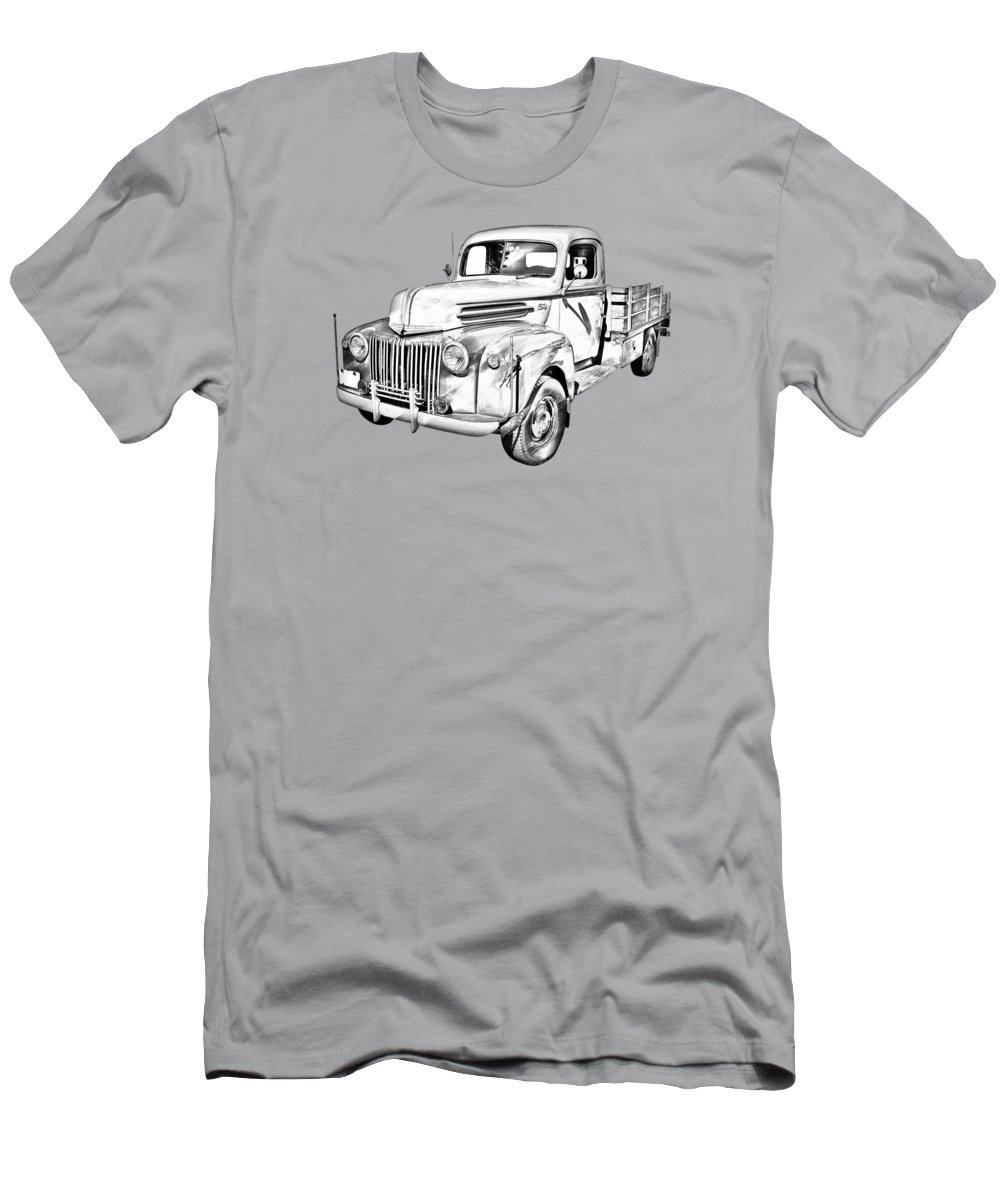 Antique Men's T-Shirt (Athletic Fit) featuring the photograph Old Flat Bed Ford Work Truck Illustration by Keith Webber Jr