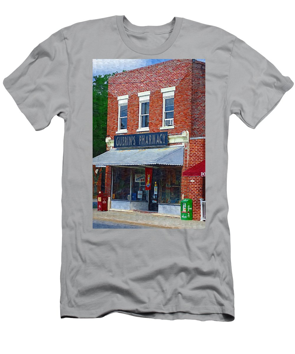 Old Buildings Men's T-Shirt (Athletic Fit) featuring the photograph Old Guerins Pharmacy by Donna Bentley