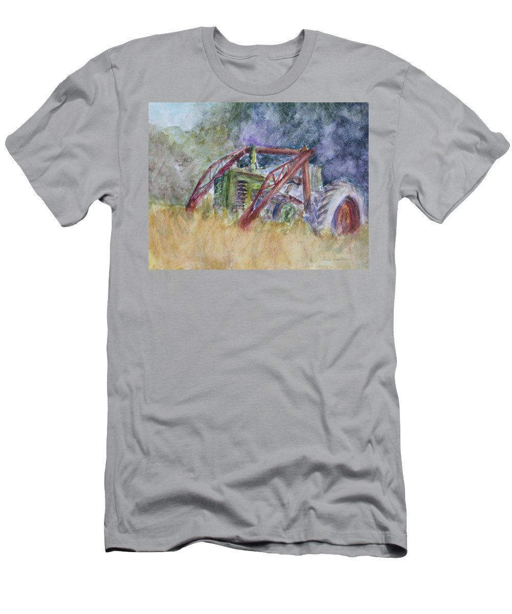 Watercolor Men's T-Shirt (Athletic Fit) featuring the painting Old John Deere Tractor In The Back 40 by Quin Sweetman