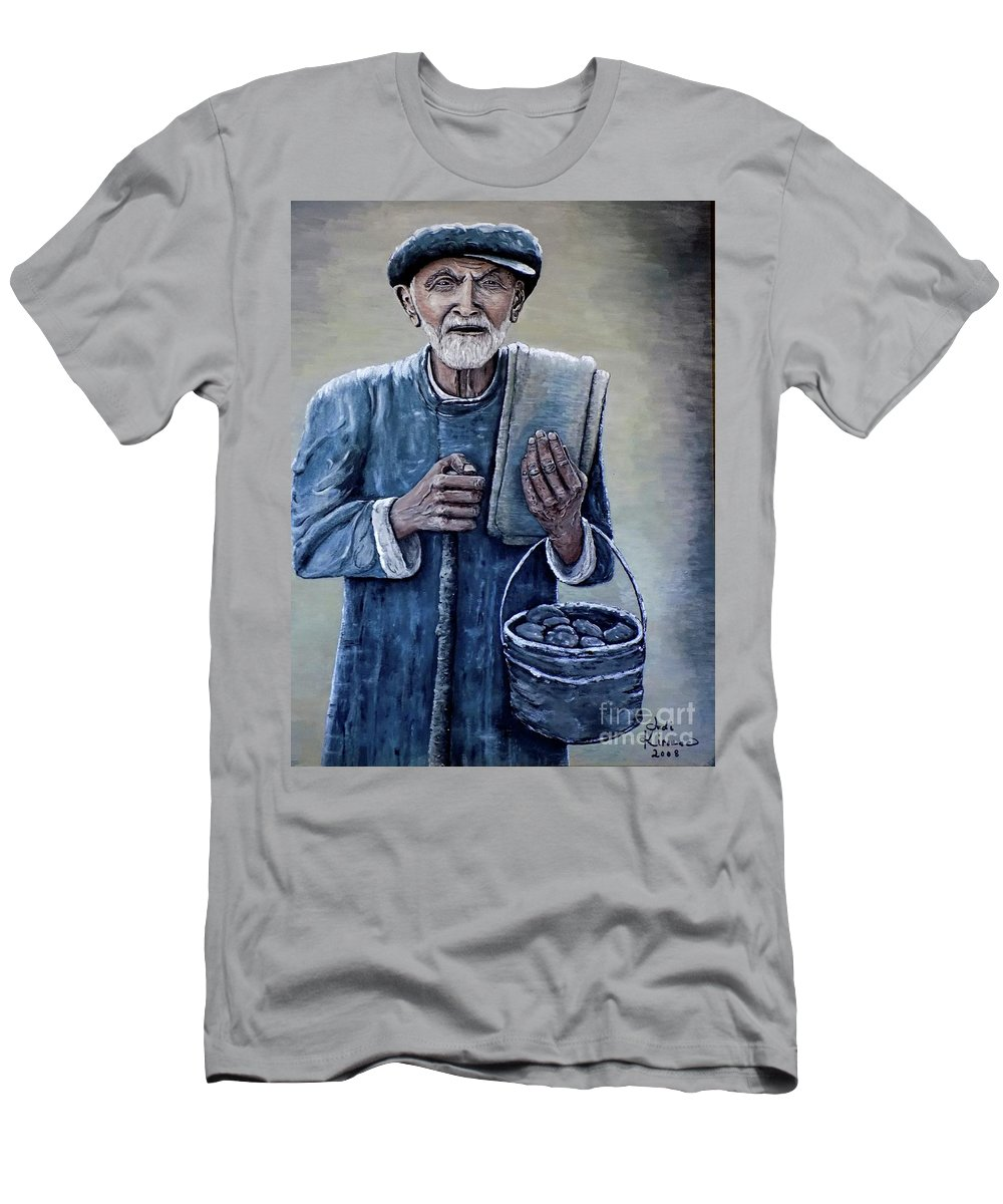Old Man Men's T-Shirt (Athletic Fit) featuring the painting Old Man With His Stones by Judy Kirouac