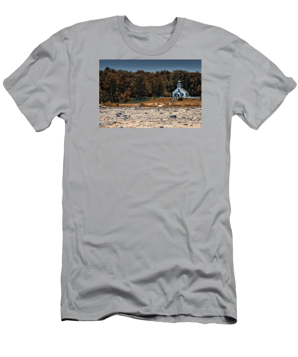 Michigan Men's T-Shirt (Athletic Fit) featuring the photograph Old Mission Point Light House 01 by Thomas Woolworth