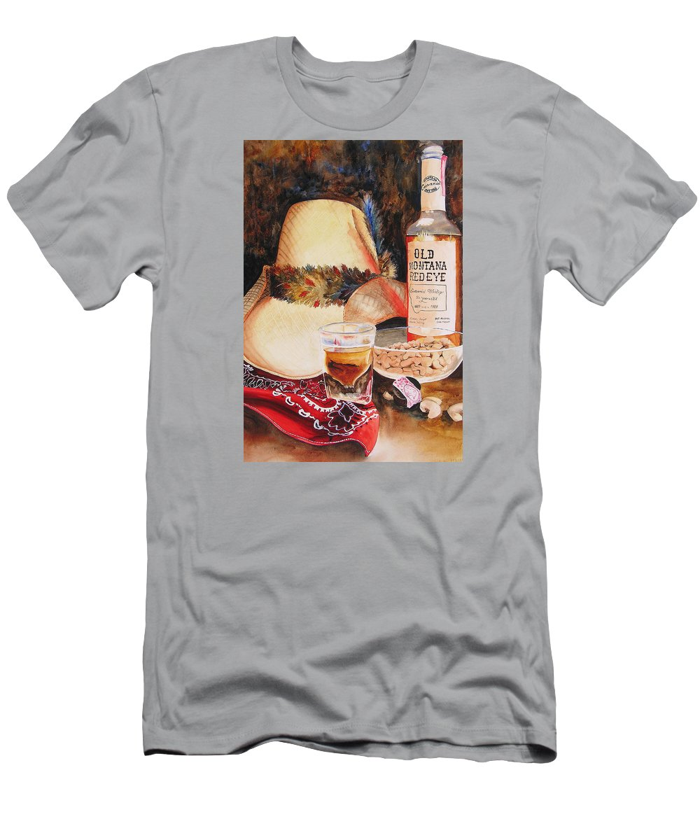 Whiskey Men's T-Shirt (Athletic Fit) featuring the painting Old Montana Red Eye by Karen Stark