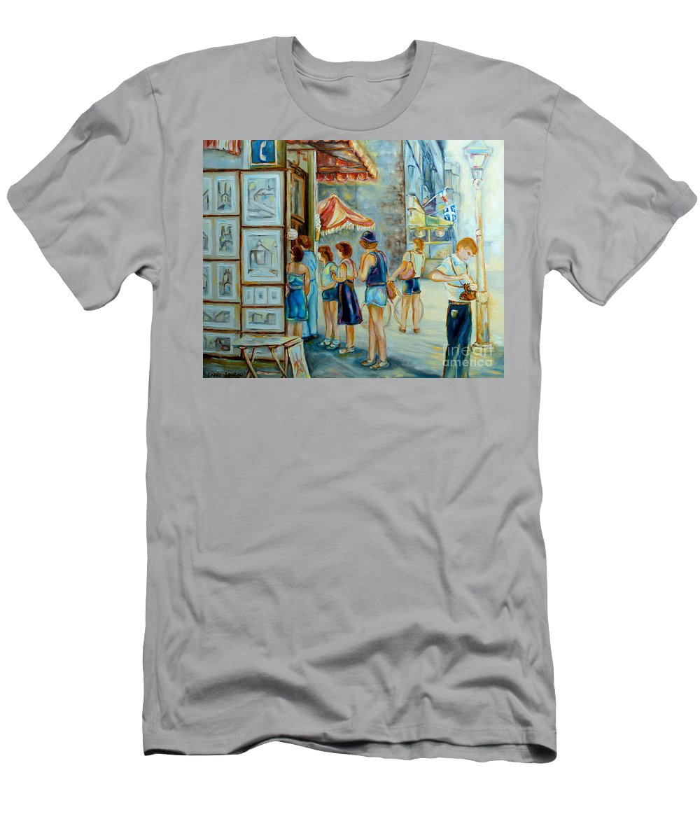 Old Montreal Street Scene Men's T-Shirt (Athletic Fit) featuring the painting Old Montreal Street Scene by Carole Spandau