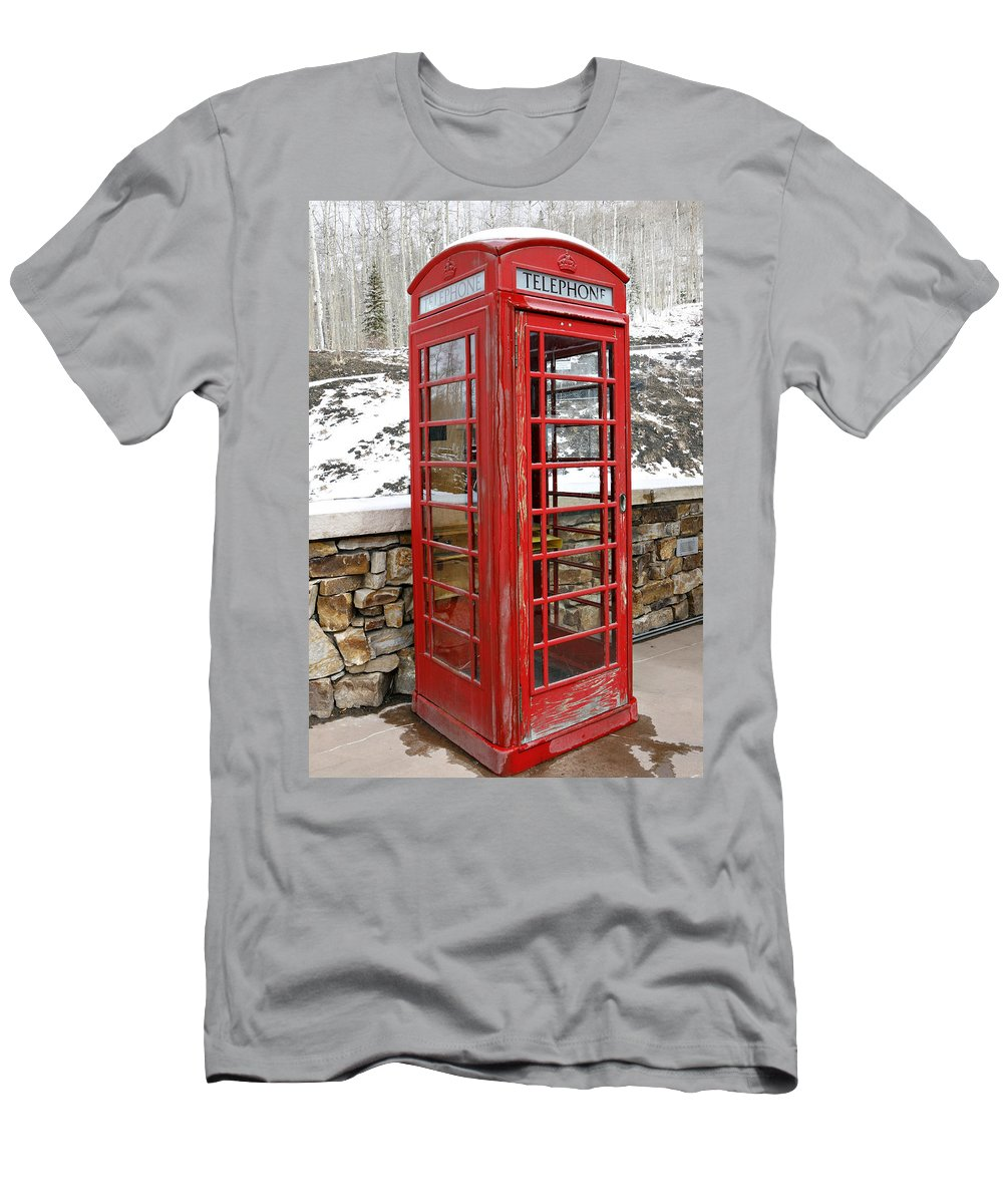 Communication Men's T-Shirt (Athletic Fit) featuring the photograph Old Phone Booth by Marilyn Hunt