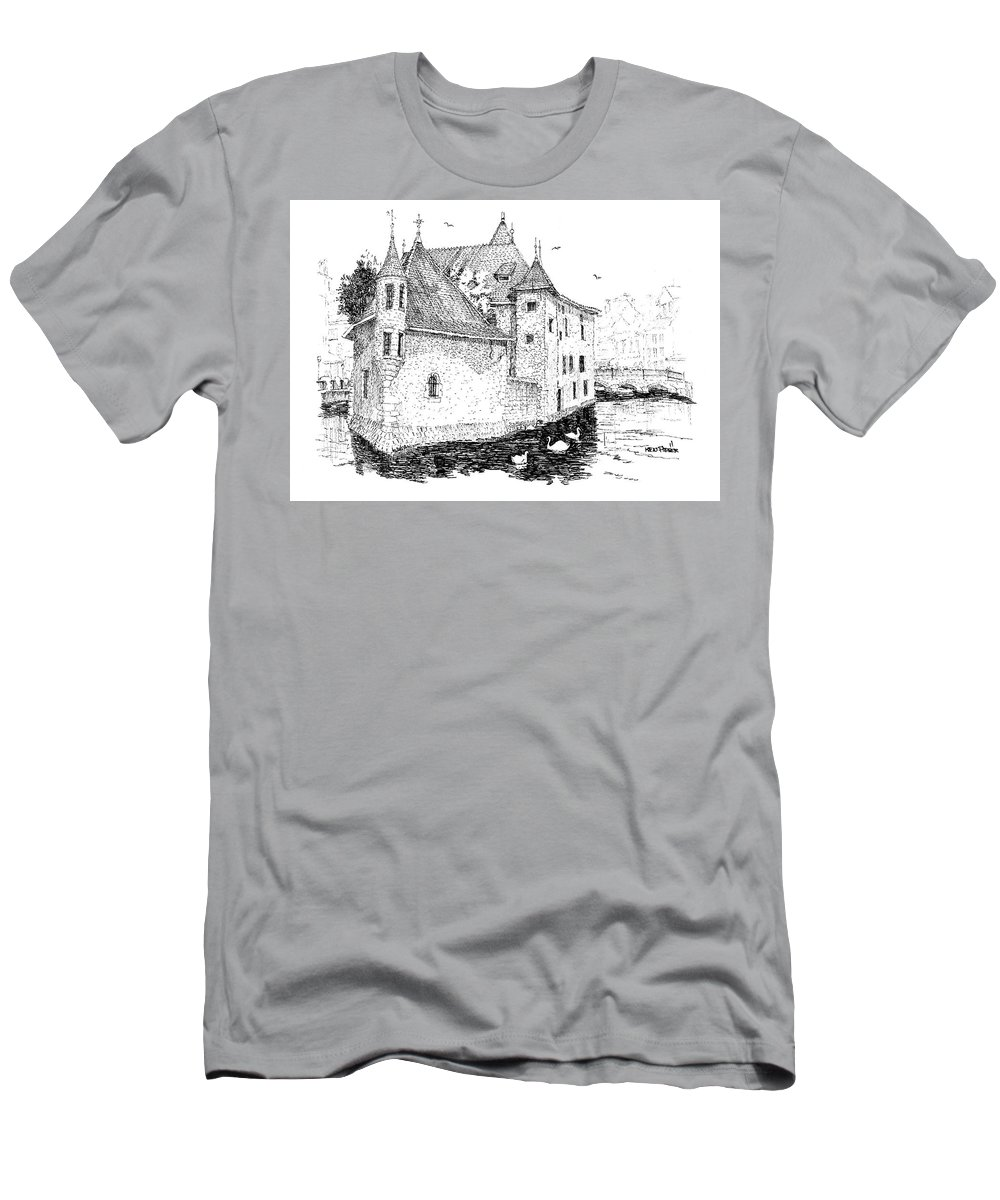 Architecture Men's T-Shirt (Athletic Fit) featuring the drawing Old Prison Of Annecy France by Ken Pieper