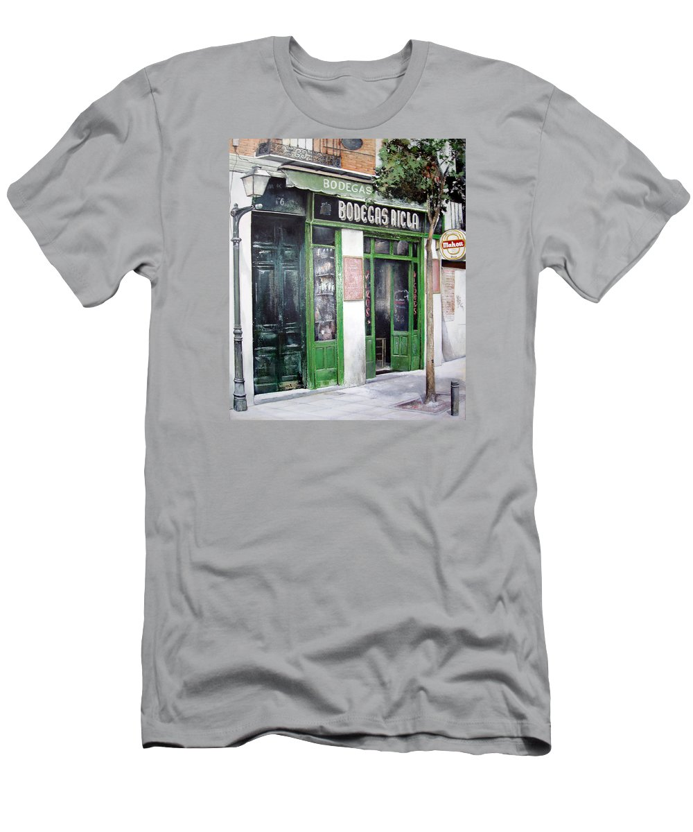 Bodegas T-Shirt featuring the painting Old Tavern-Madrid by Tomas Castano