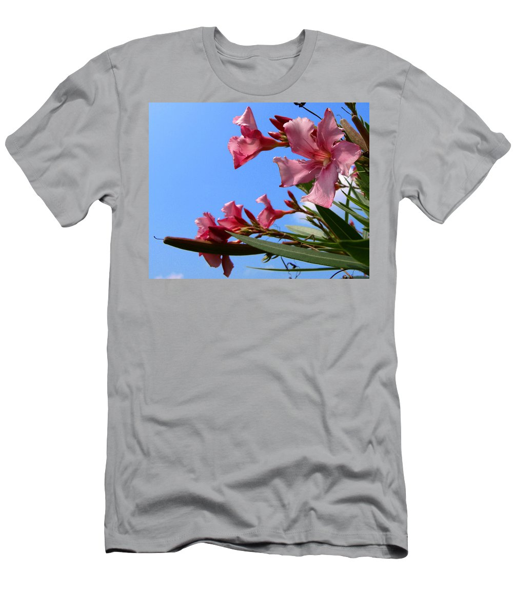 Flower; Florida; Oleander; Purple; Pink; Lavander; Sky; Blue; Clouds; Drought; Leaves; Green; South; Men's T-Shirt (Athletic Fit) featuring the photograph Oleander Flowers Wilting In The Brutal Florida Sun by Allan Hughes
