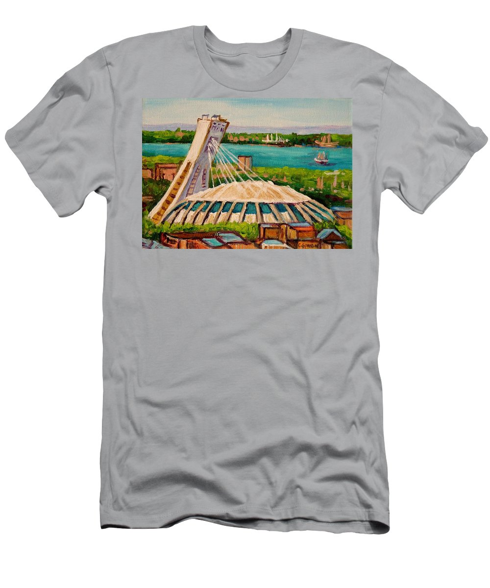 The Olympic Stadium Men's T-Shirt (Athletic Fit) featuring the painting Olympic Stadium Montreal by Carole Spandau