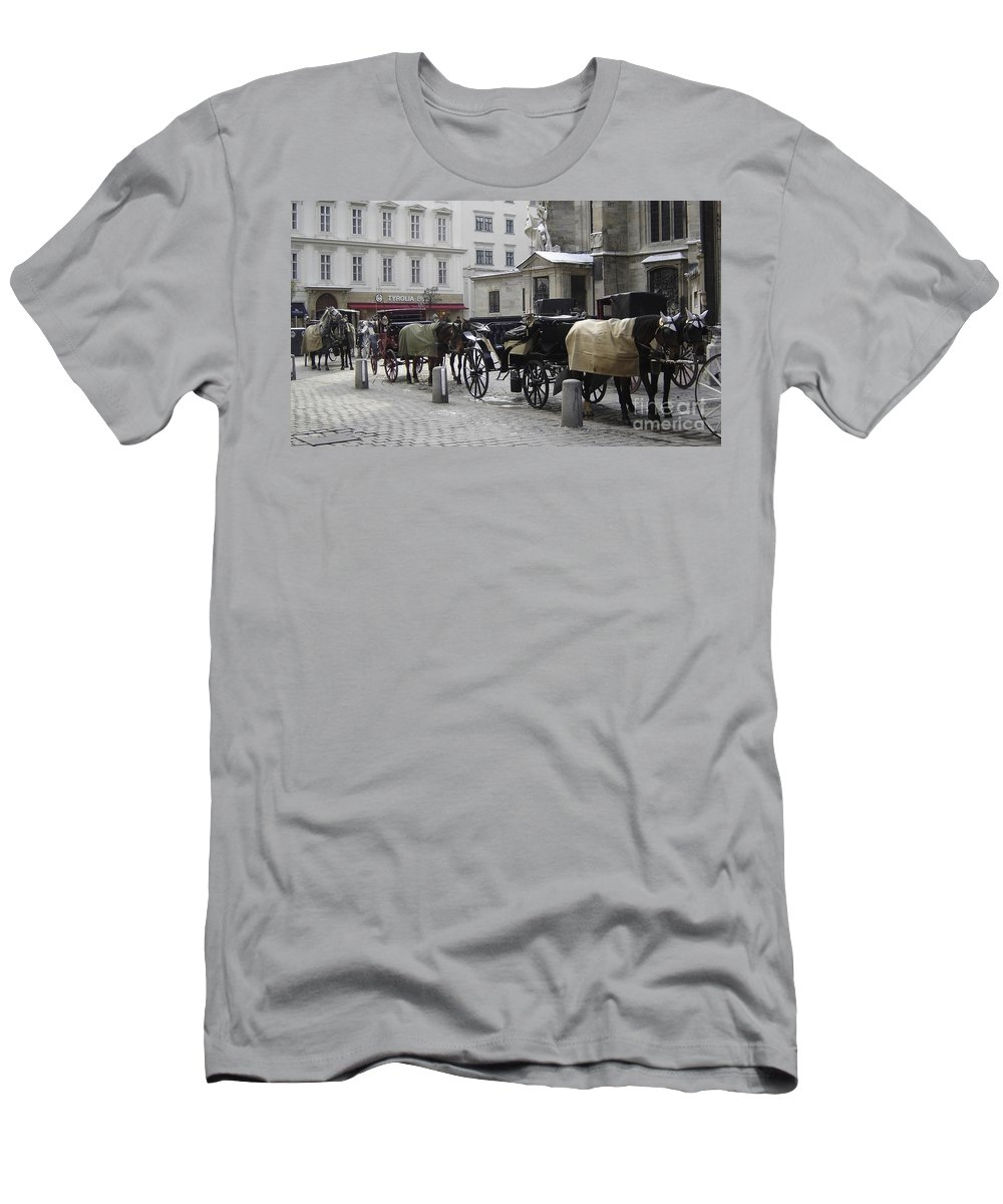 Horses Men's T-Shirt (Athletic Fit) featuring the photograph On Call by Mary Rogers
