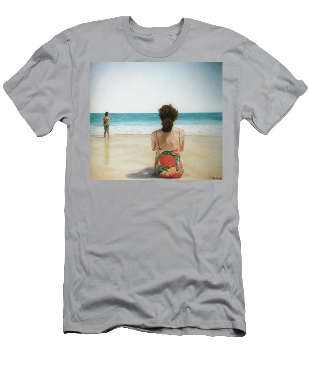 Beach Men's T-Shirt (Athletic Fit) featuring the painting On The Beach by Rich Milo