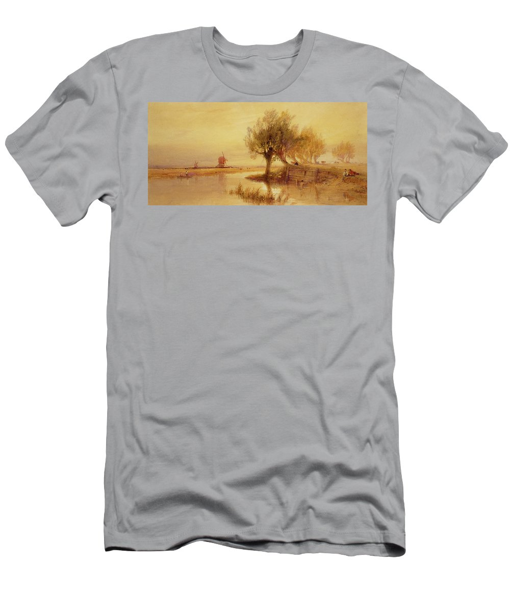 The Men's T-Shirt (Athletic Fit) featuring the painting On The Norfolk Broads by Edward Duncan