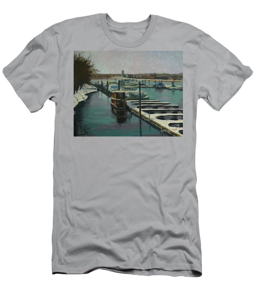 Mississippi Men's T-Shirt (Athletic Fit) featuring the painting On The River by Laura Toth