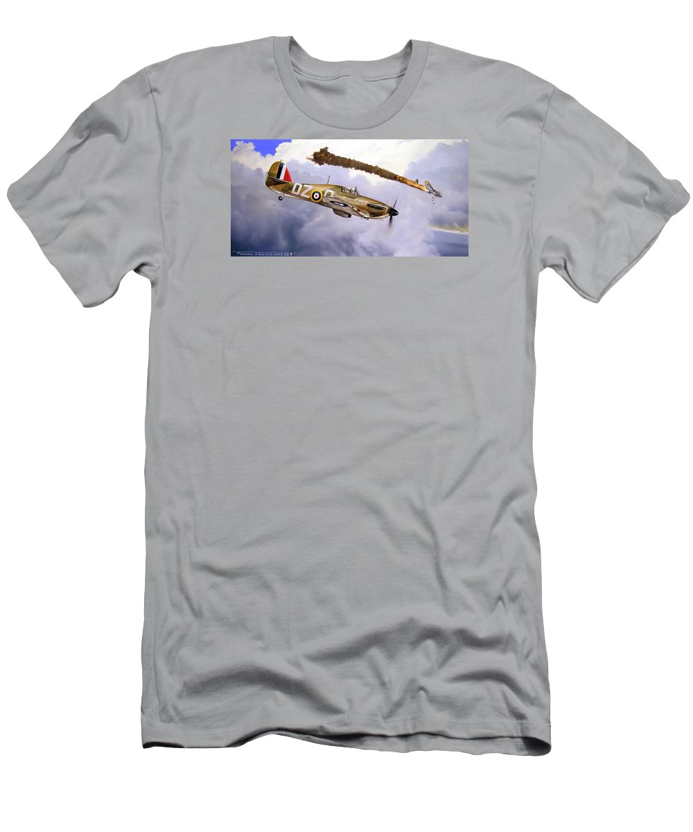 Aviation Art T-Shirt featuring the painting One of the Few by Marc Stewart