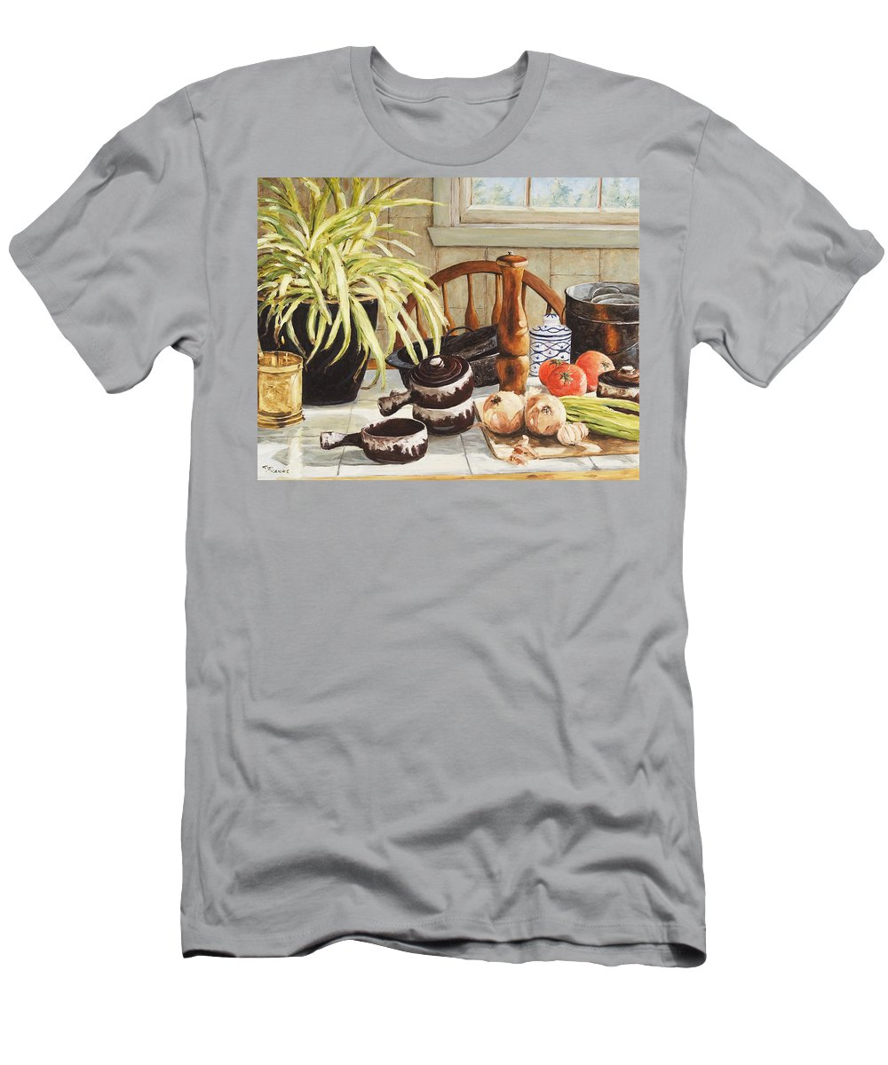 Onion Men's T-Shirt (Athletic Fit) featuring the painting Onion Soup Tonight by Richard T Pranke