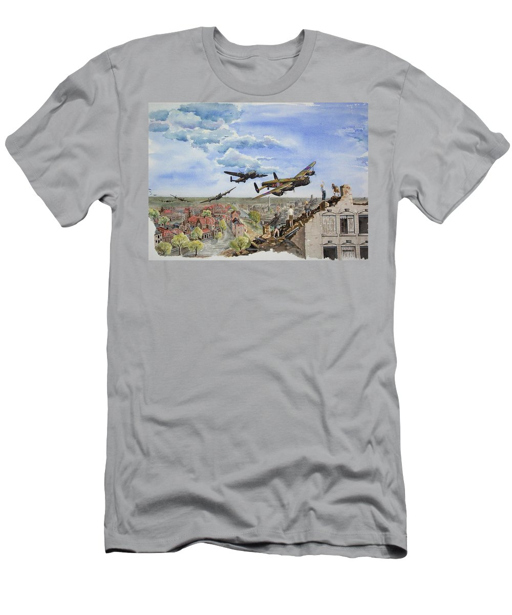 Lancaster Bomber Men's T-Shirt (Athletic Fit) featuring the painting Operation Manna I by Gale Cochran-Smith