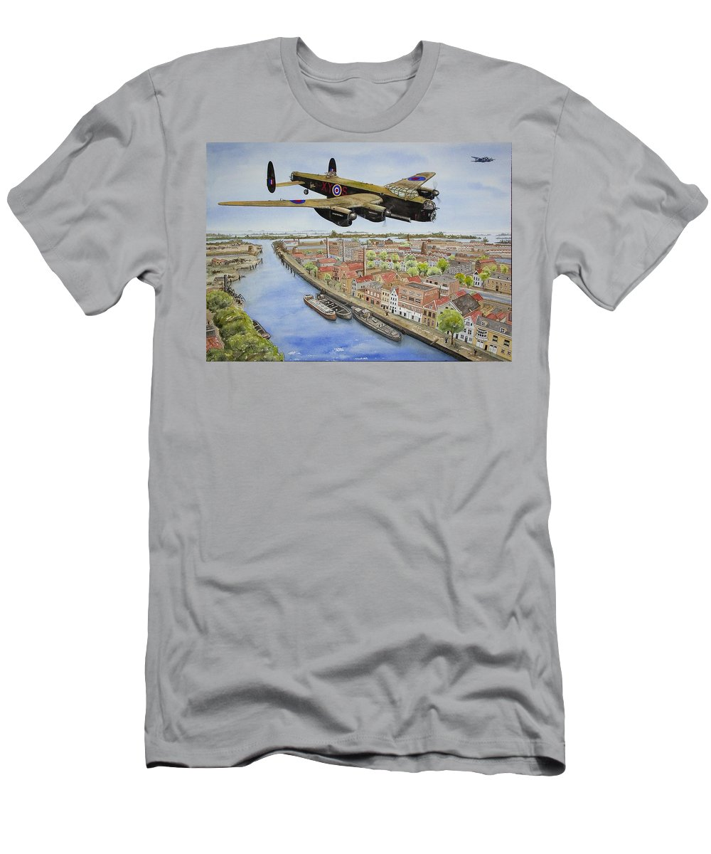 Lancaster Bomber Men's T-Shirt (Athletic Fit) featuring the painting Operation Manna II by Gale Cochran-Smith