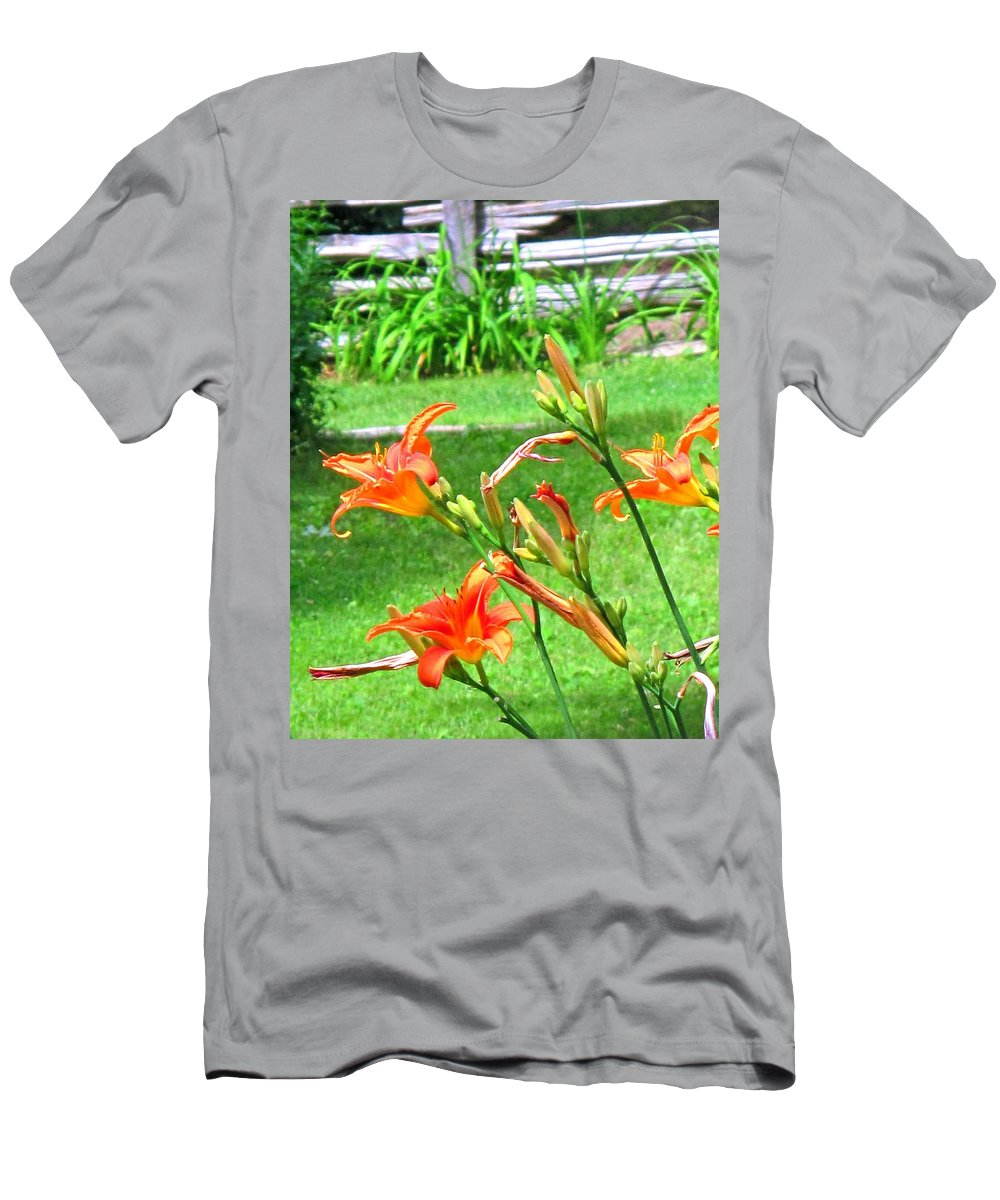 Lilly Men's T-Shirt (Athletic Fit) featuring the photograph Orange And Green by Ian MacDonald