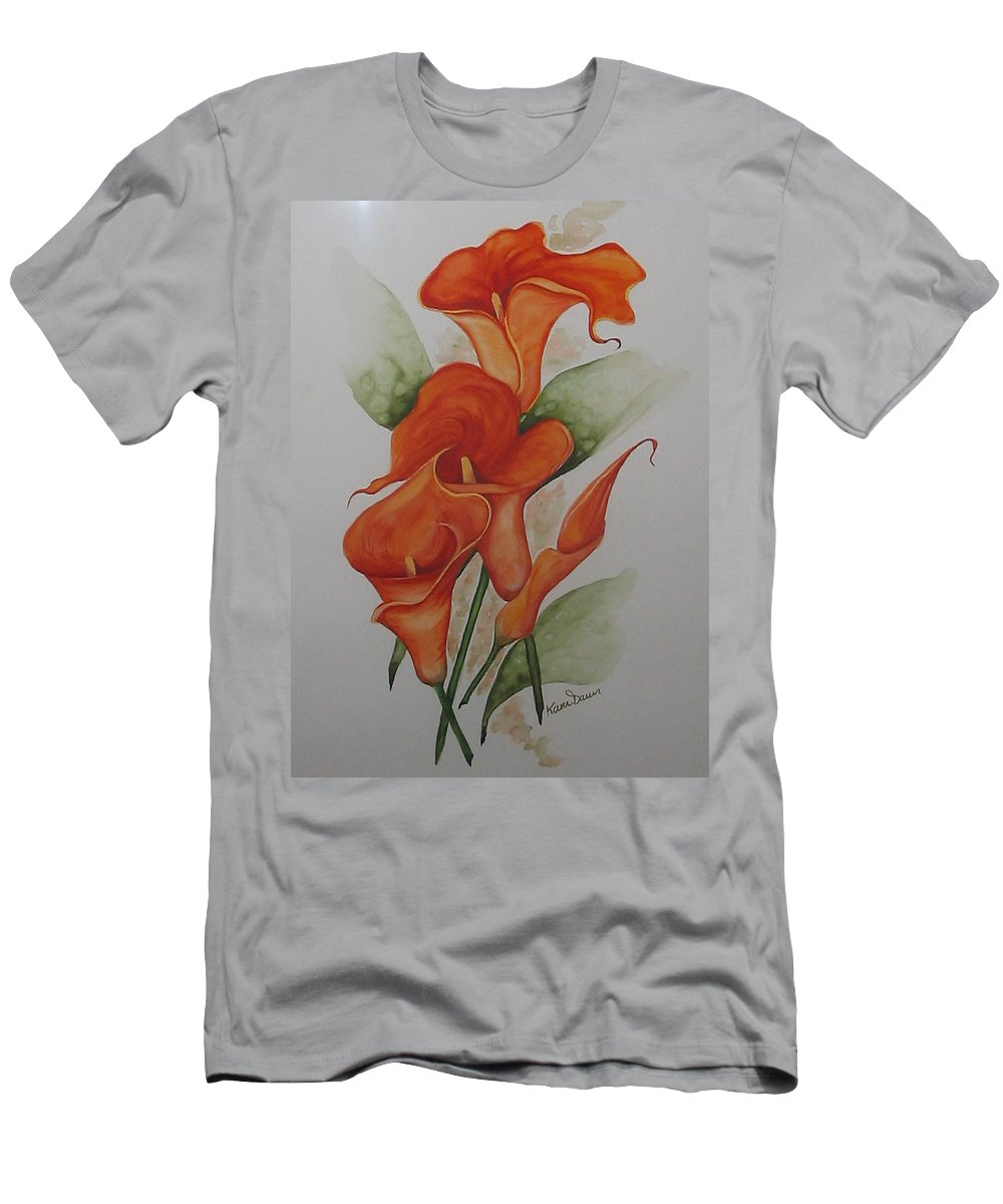 Floral Orange Lily T-Shirt featuring the painting Orange Callas by Karin Dawn Kelshall- Best