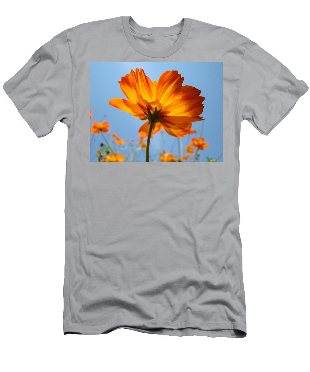 Daisy Men's T-Shirt (Athletic Fit) featuring the photograph Orange Floral Summer Flower Art Print Daisy Type Blue Sky Baslee Troutman by Baslee Troutman