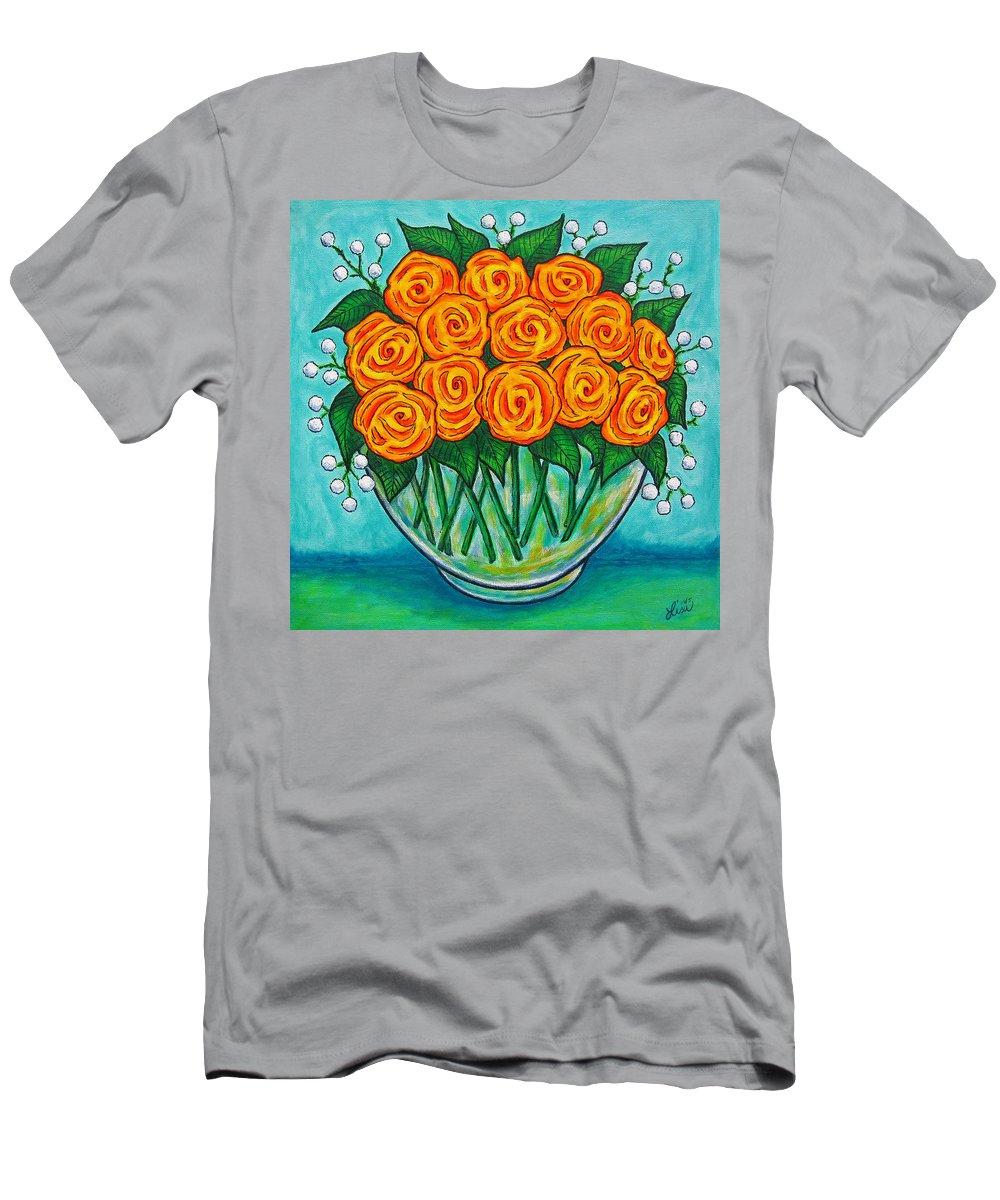 Orange T-Shirt featuring the painting Orange Passion by Lisa Lorenz