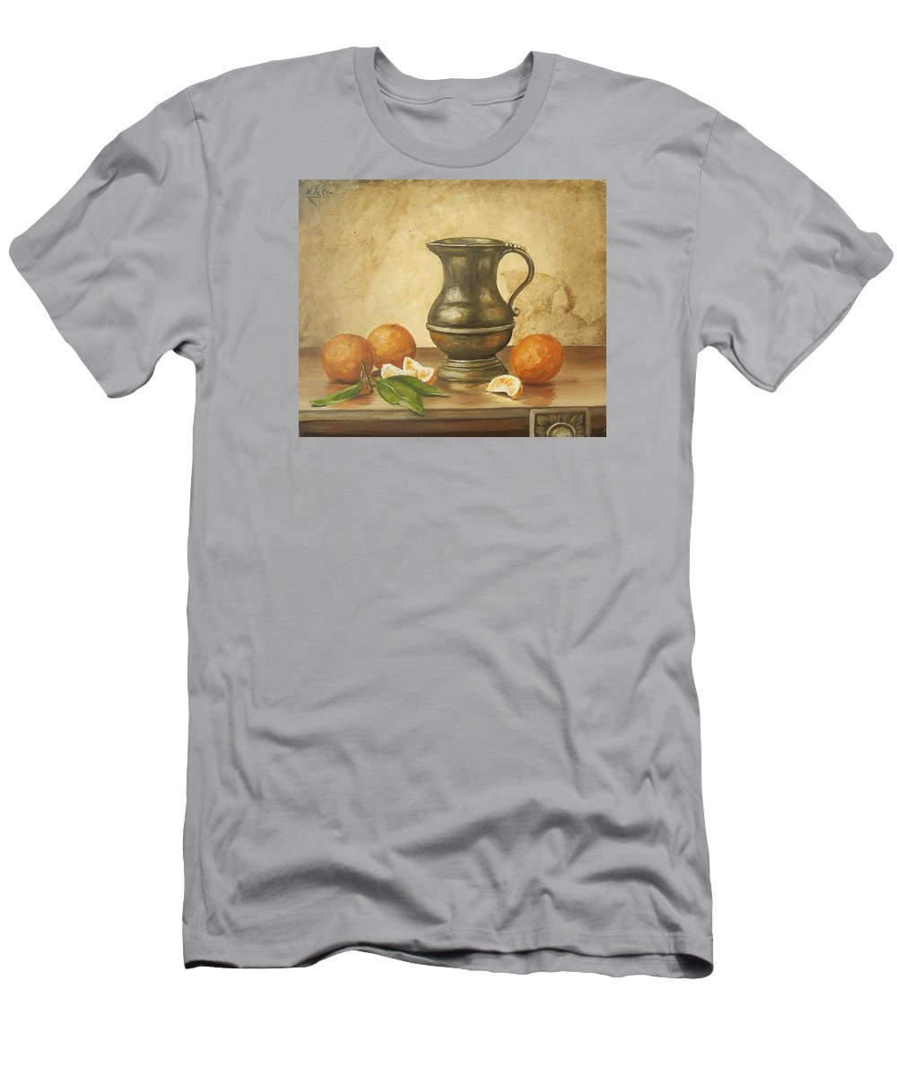 Still Life Men's T-Shirt (Athletic Fit) featuring the painting Oranges by Natalia Tejera