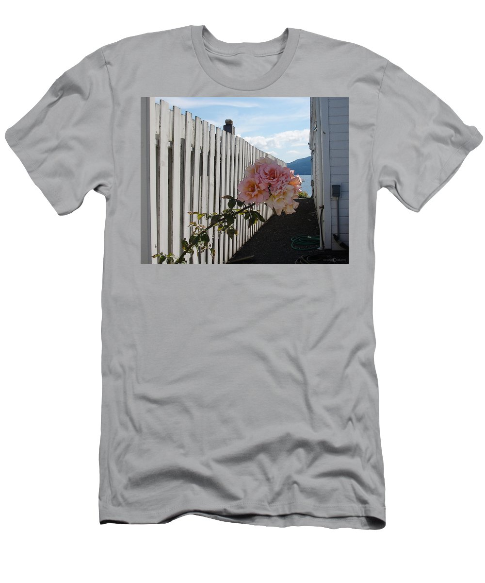 Rose Men's T-Shirt (Athletic Fit) featuring the photograph Orcas Island Rose by Tim Nyberg