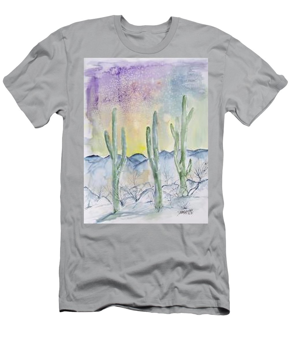 Impressionistic Men's T-Shirt (Athletic Fit) featuring the painting Organ Pipe Cactus Desert Southwestern Painting Poster Print by Derek Mccrea