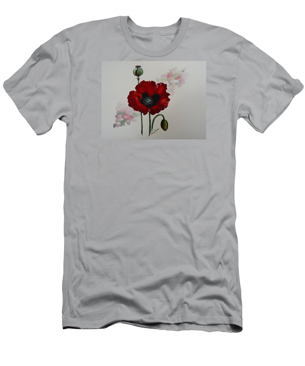 Floral Poppy Red Flower Men's T-Shirt (Athletic Fit) featuring the painting Oriental Poppy by Karin Dawn Kelshall- Best