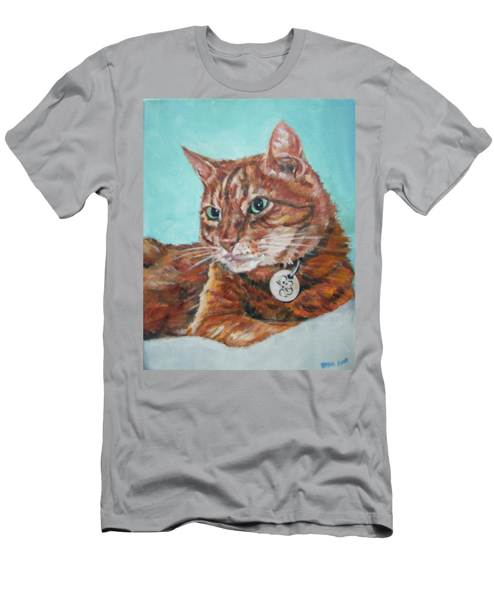 Cat Men's T-Shirt (Athletic Fit) featuring the painting Oscar by Bryan Bustard