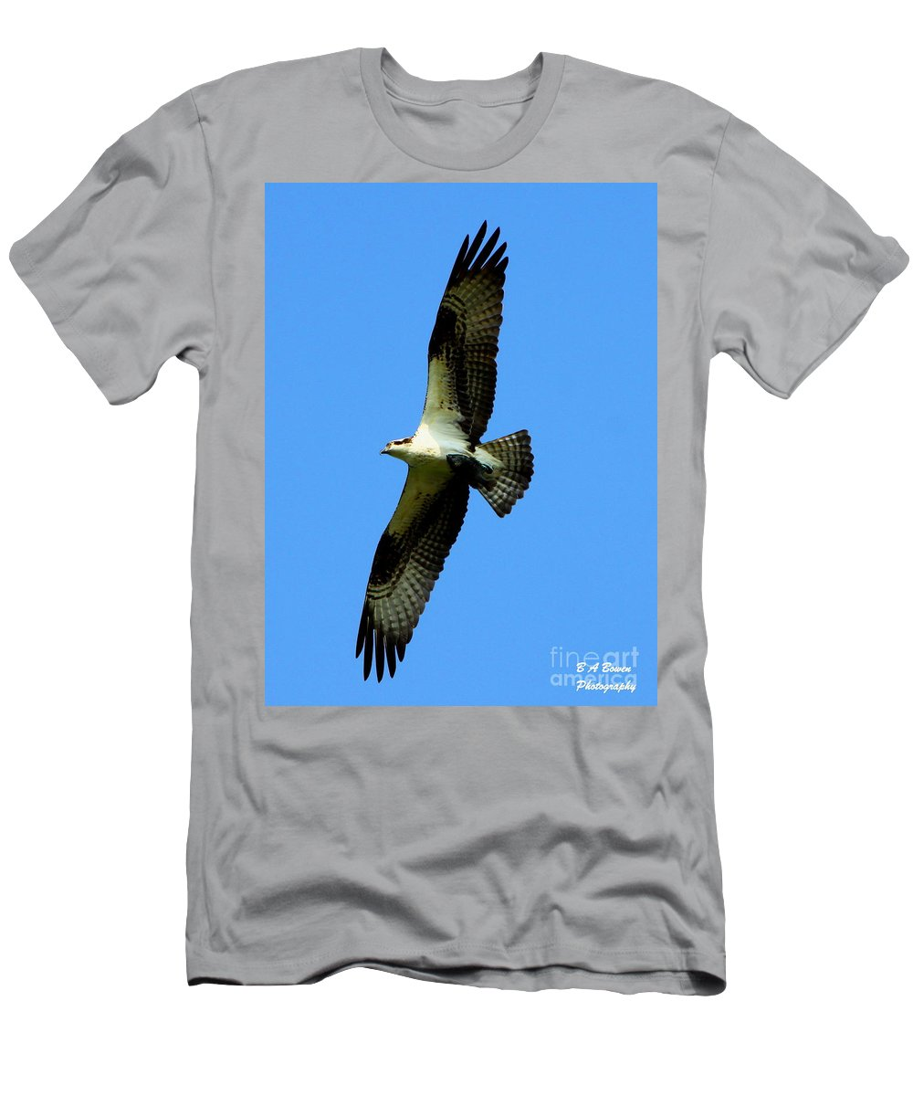 Osprey Men's T-Shirt (Athletic Fit) featuring the photograph Osprey Carrying A Fish by Barbara Bowen