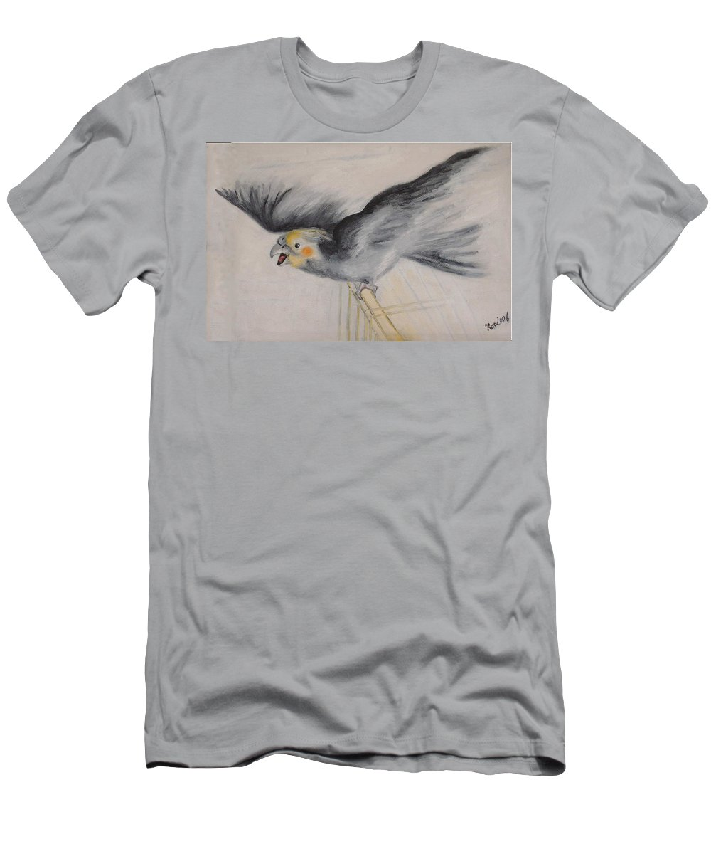 Cockatiel.pet Men's T-Shirt (Athletic Fit) featuring the painting our cockatiel Coco by Helmut Rottler