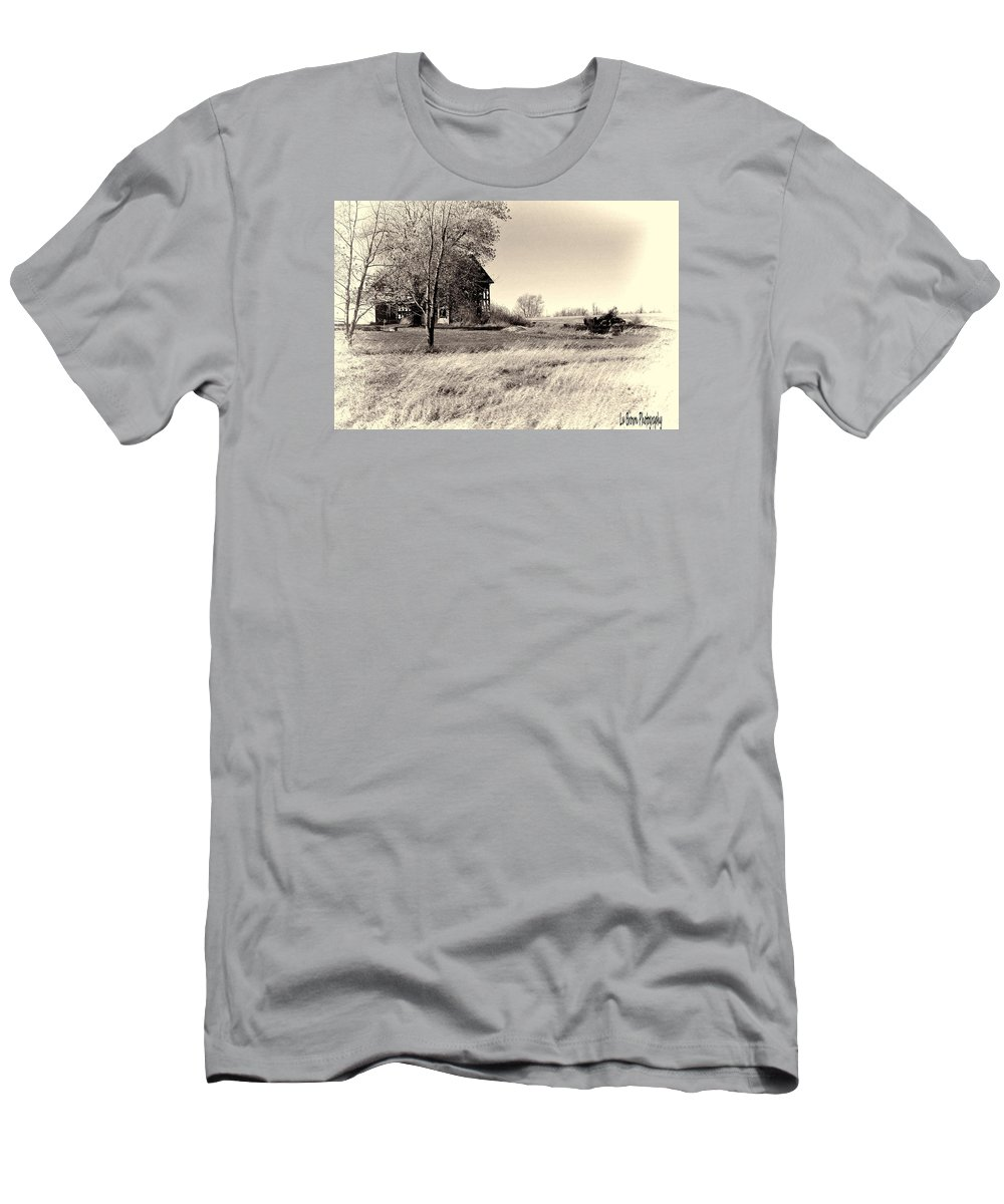 Photography; Photograph; Photo; Picture; Black And White; Barn; Rural; Country; Art Men's T-Shirt (Athletic Fit) featuring the photograph Out In The Wind by Lu Brown