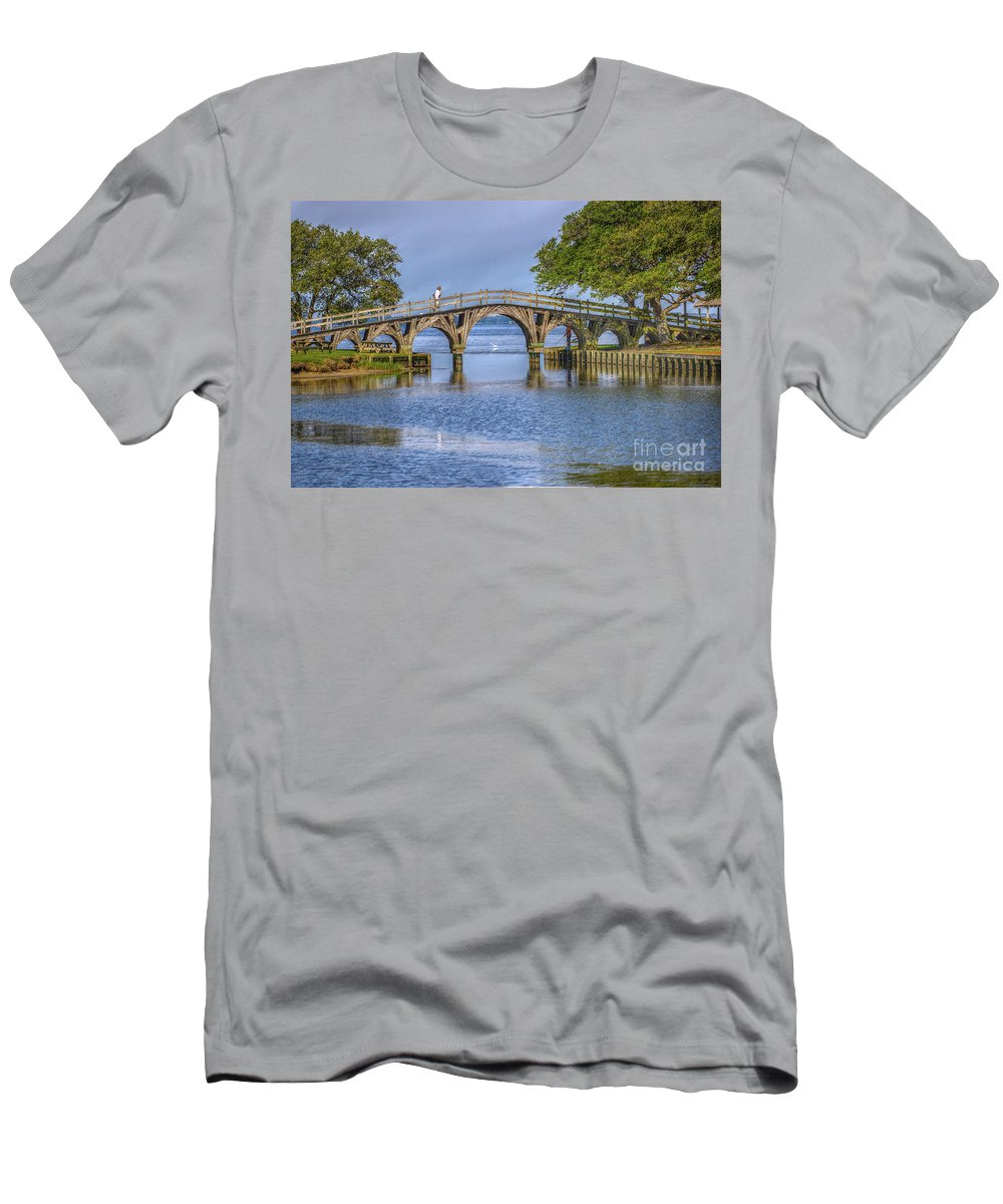 Summer Men's T-Shirt (Athletic Fit) featuring the photograph Outer Banks Whalehead Club Bridge by Randy Steele