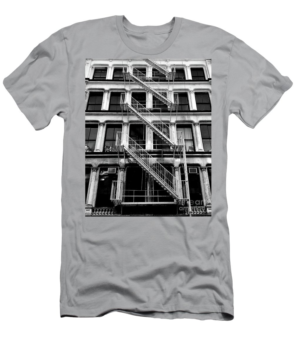 Fire Escape Men's T-Shirt (Athletic Fit) featuring the photograph Outside Stairs by John Donnery
