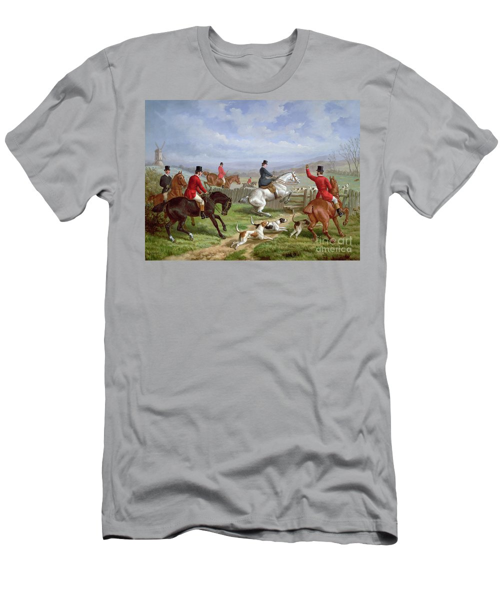 Over T-Shirt featuring the painting Over The Fence by Edward Benjamin Herberte