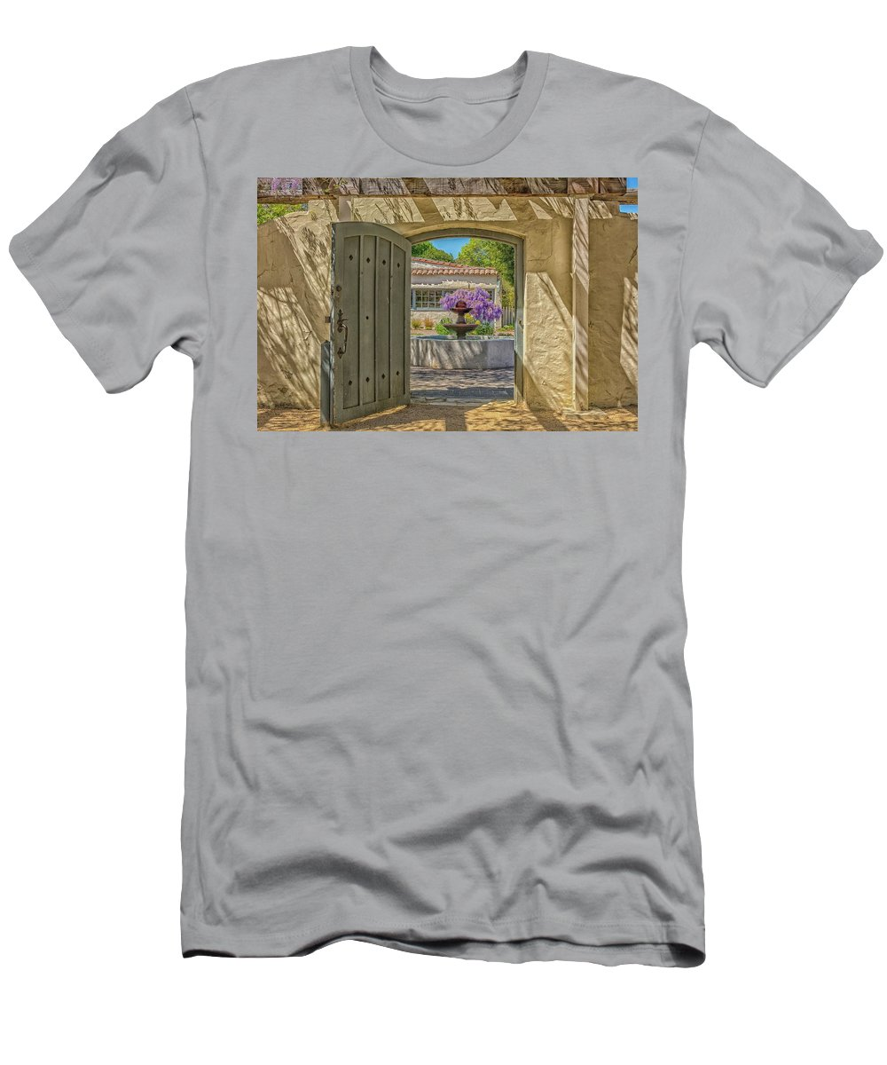 Landscape Men's T-Shirt (Athletic Fit) featuring the pyrography Pacific House Garden Watercolors by Javier Flores