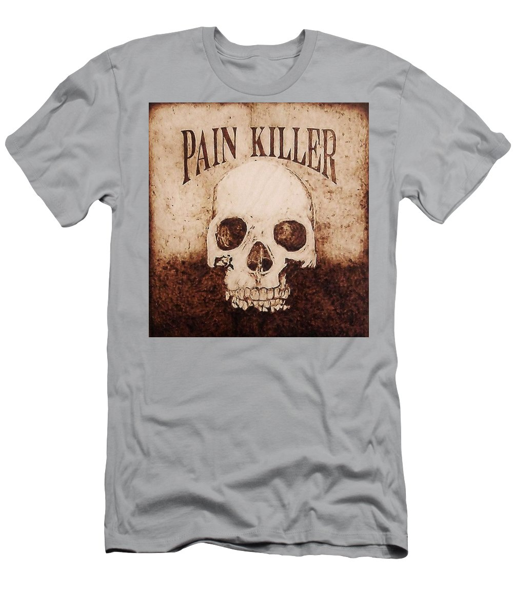 Pyrography Men's T-Shirt (Athletic Fit) featuring the pyrography Pain Killer by Dan LaTour