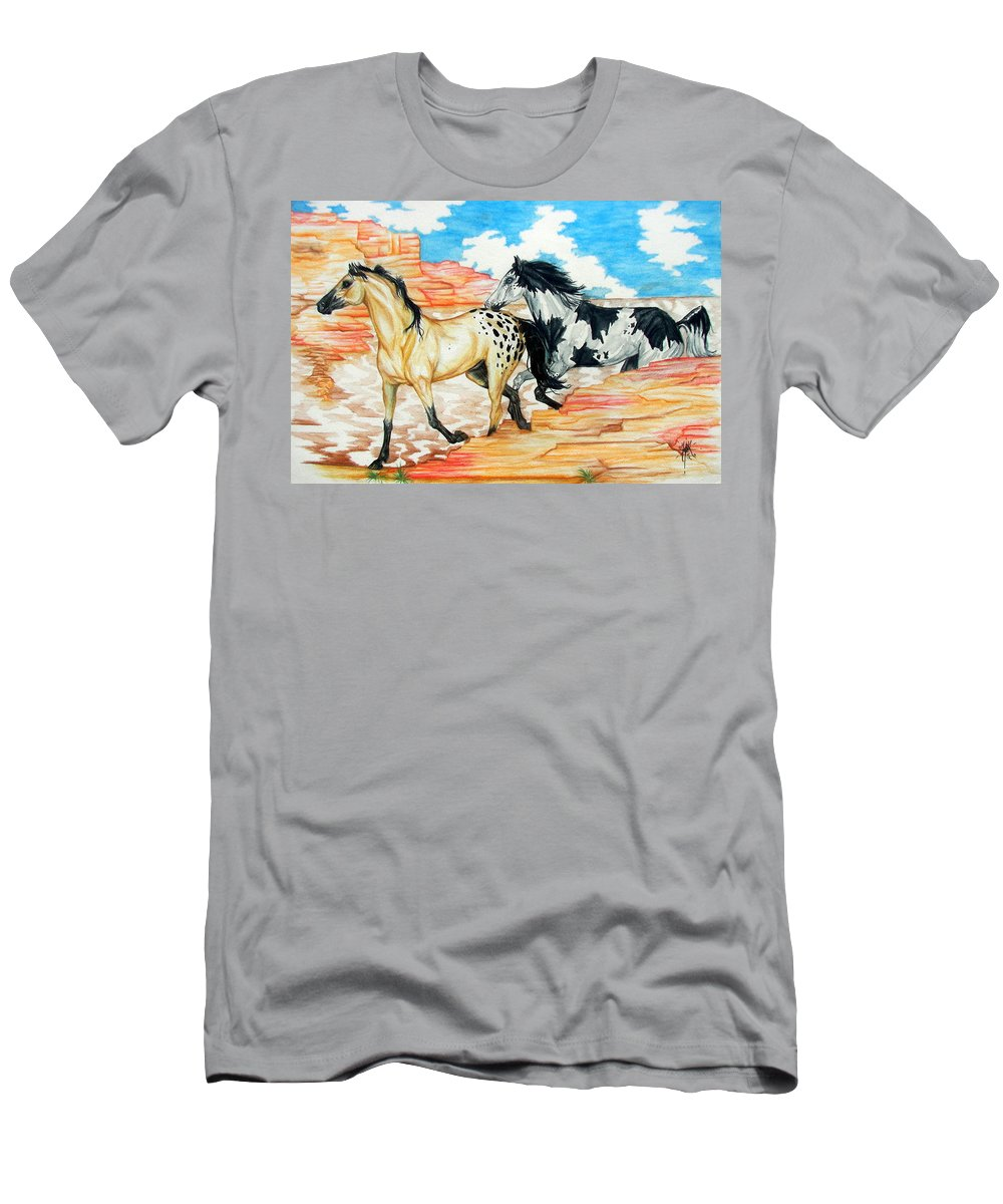 Horse Men's T-Shirt (Athletic Fit) featuring the painting Painted Desert by Monica Turner