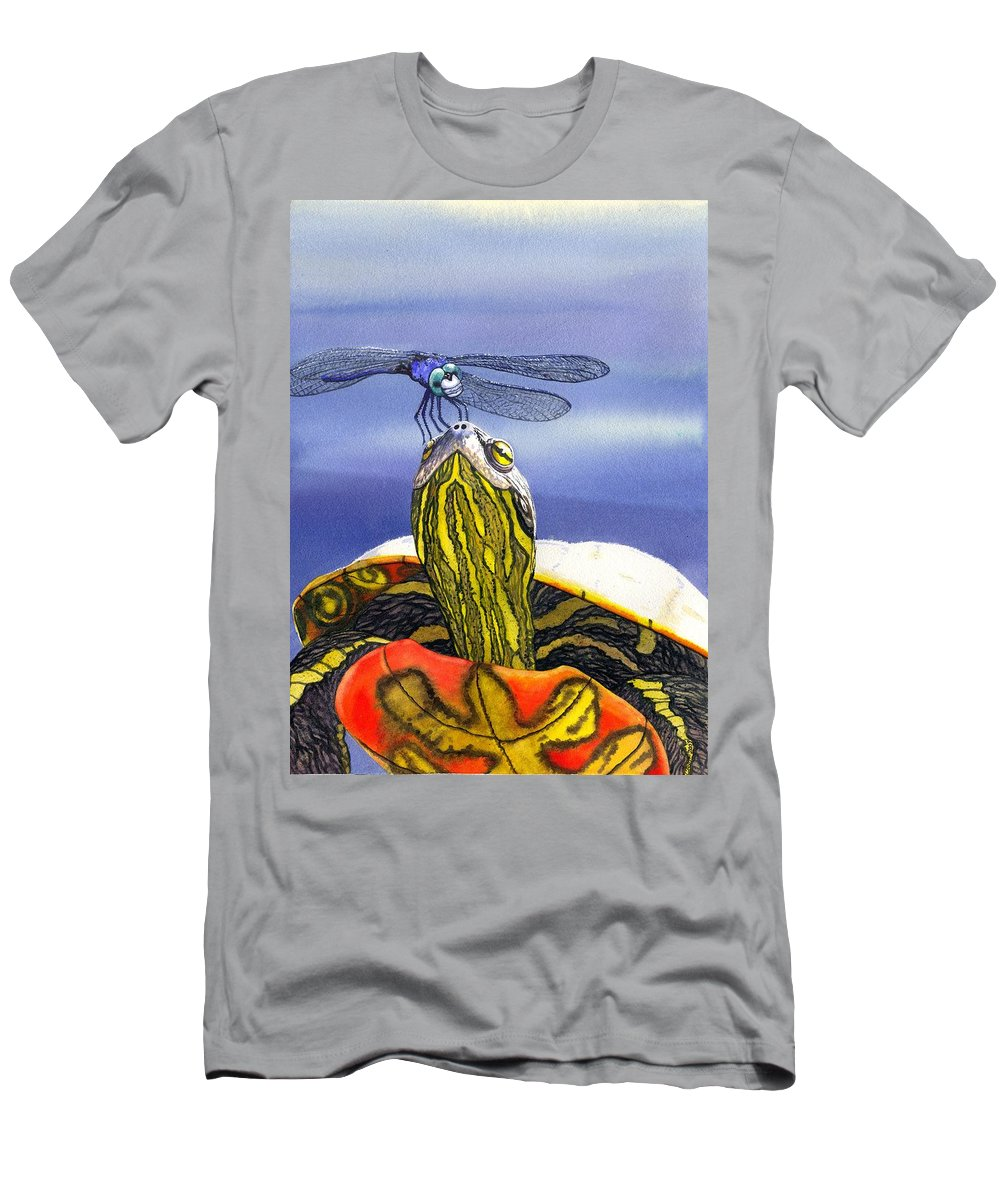 Turtle Men's T-Shirt (Athletic Fit) featuring the painting Painted Turtle And Dragonfly by Catherine G McElroy