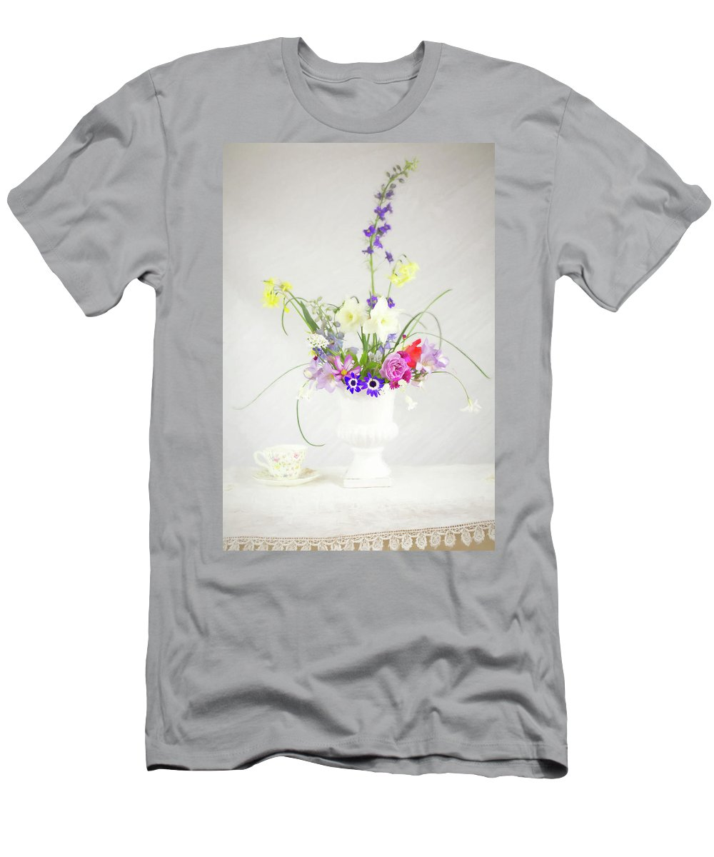 Tea Cup Men's T-Shirt (Athletic Fit) featuring the photograph Painterly Homegrown Floral Bouquet by Susan Gary