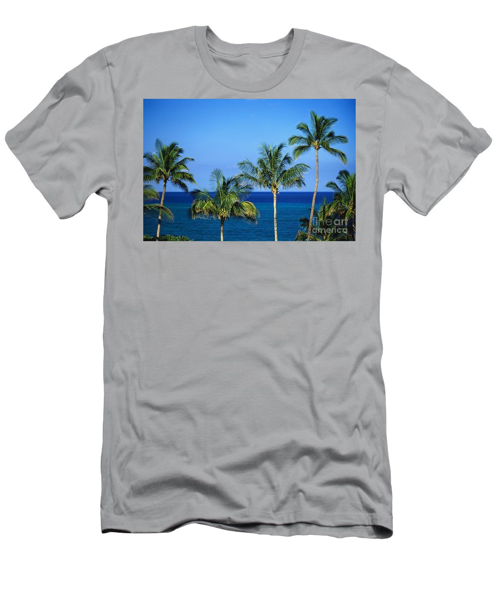 Afternoon Men's T-Shirt (Athletic Fit) featuring the photograph Palm Tree Tops by Kyle Rothenborg - Printscapes