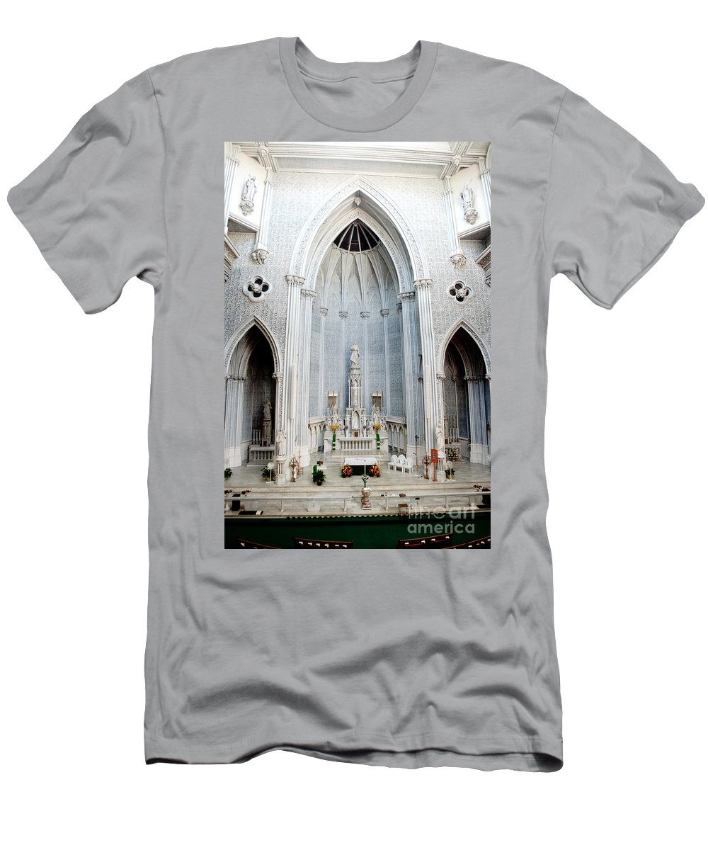 St.john Men's T-Shirt (Athletic Fit) featuring the photograph Panorama Of The Main Altar Of St. John The Evangalist Roman Catholic Church Schenectady by Thomas Marchessault