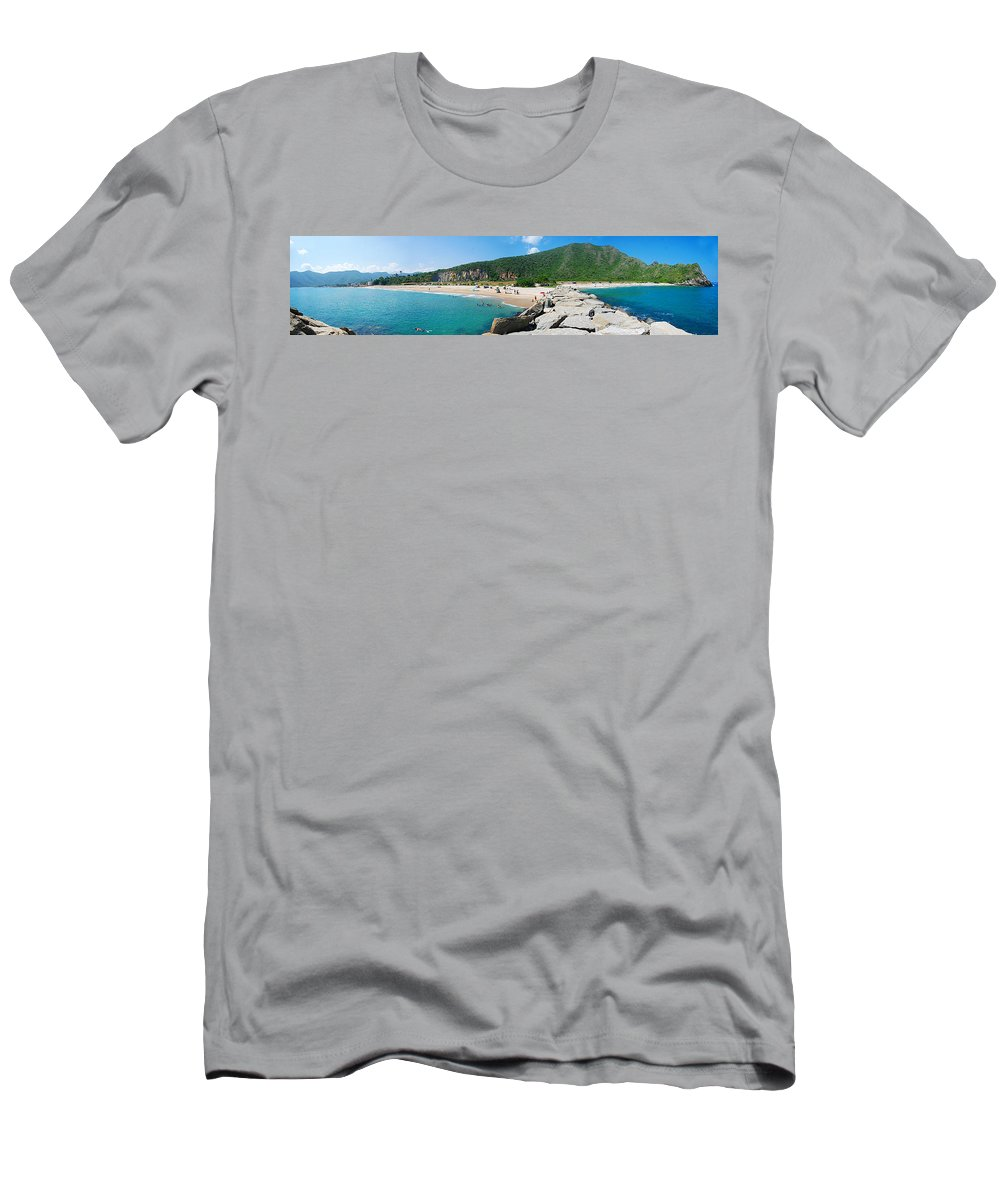 Beach Men's T-Shirt (Athletic Fit) featuring the photograph Panoramic Of Ocumare De La Costa by Galeria Trompiz
