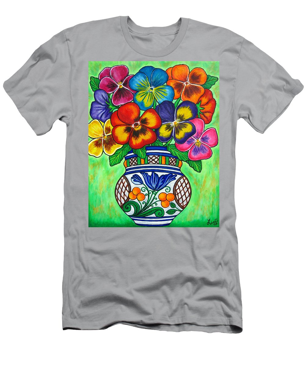 Flower Men's T-Shirt (Athletic Fit) featuring the painting Pansy Parade by Lisa Lorenz