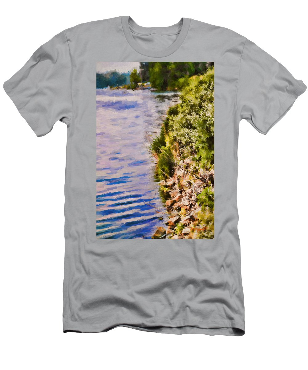Lake Men's T-Shirt (Athletic Fit) featuring the painting Paradise Lake Shore by Theresa Campbell
