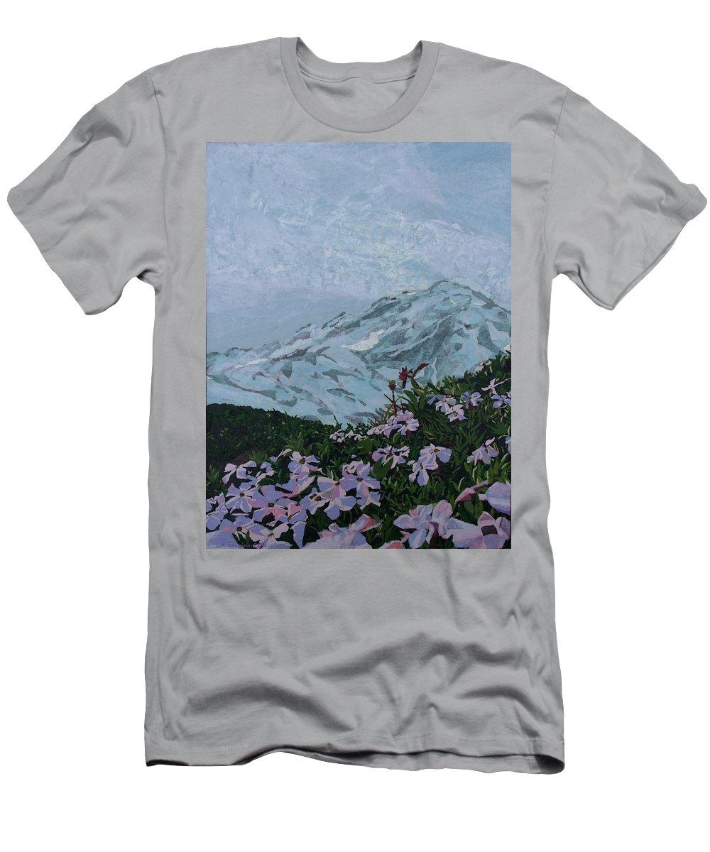 Landscape Men's T-Shirt (Athletic Fit) featuring the painting Paradise Mount Rainier by Leah Tomaino