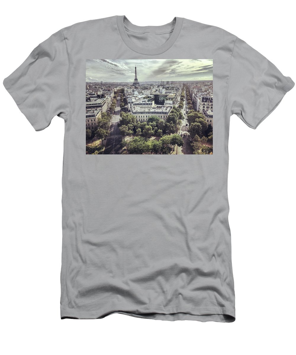 Paris Men's T-Shirt (Athletic Fit) featuring the photograph Paris Cityscape From Above, France by Anna Bryukhanova