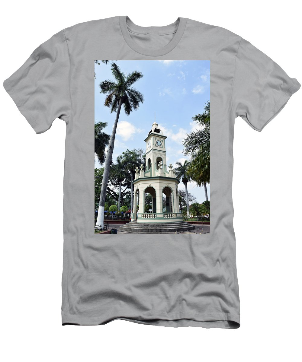 Ahuachapan Men's T-Shirt (Athletic Fit) featuring the photograph Parque Central Ahuachapan El Salvador by Totto Ponce