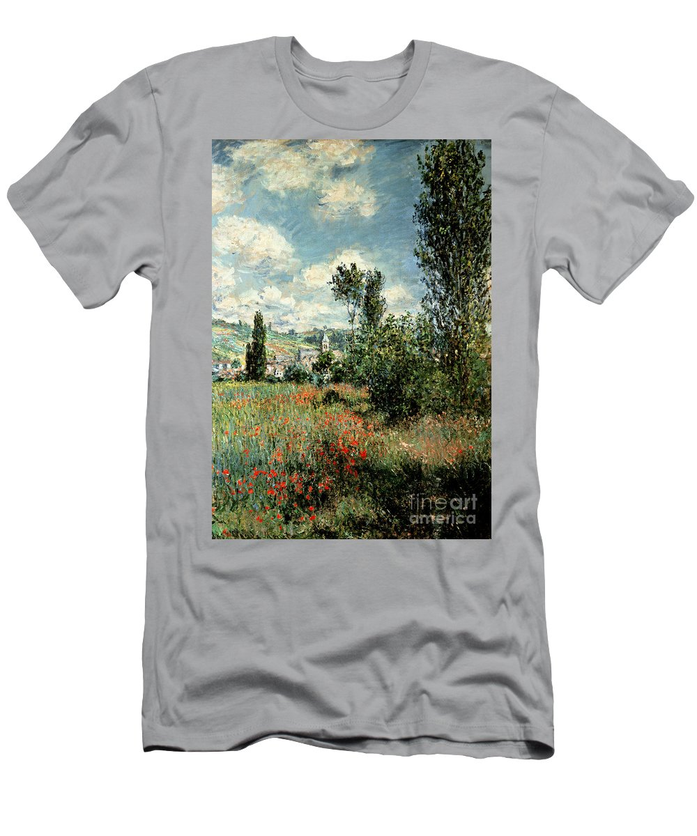 Path T-Shirt featuring the painting Path through the Poppies by Claude Monet